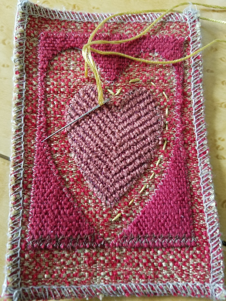 ANY Texture Fabric Valentine card in progress