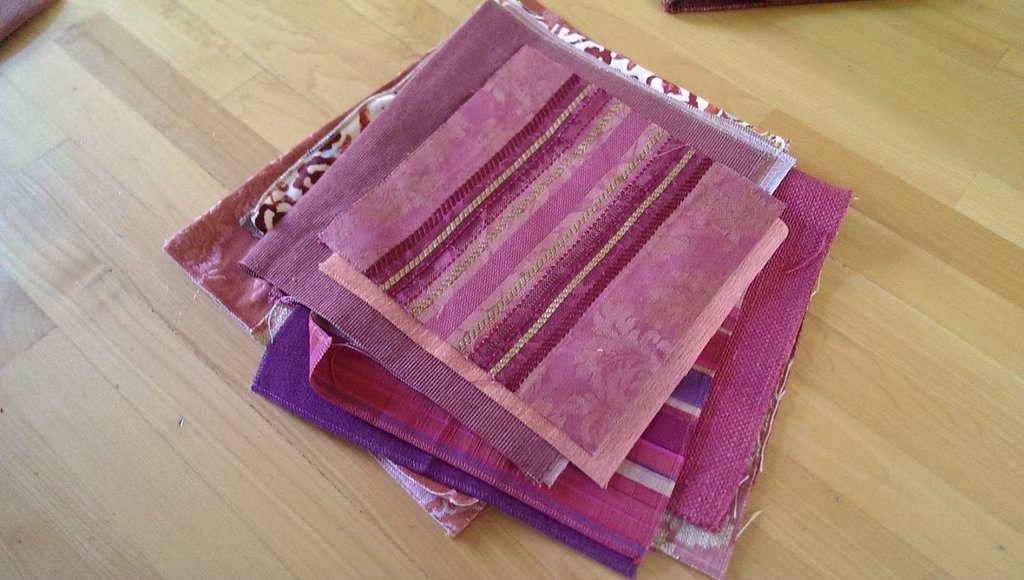 Fabrics cut for spring bags