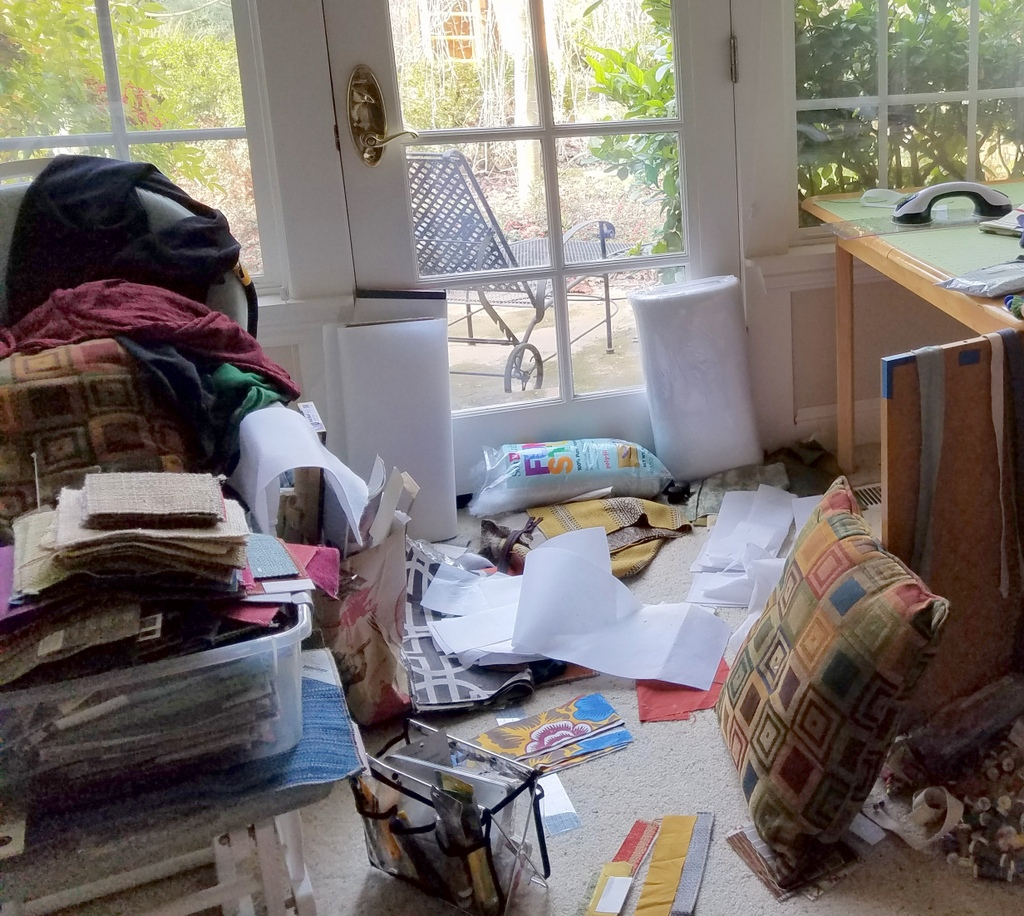 Messy studio before reorganizing