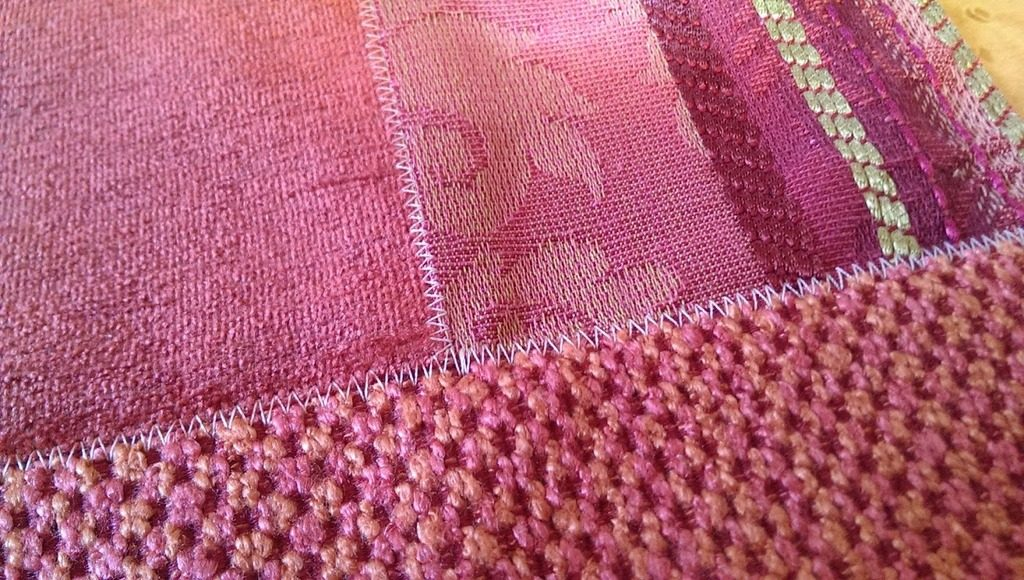 Pink scraps sewn together