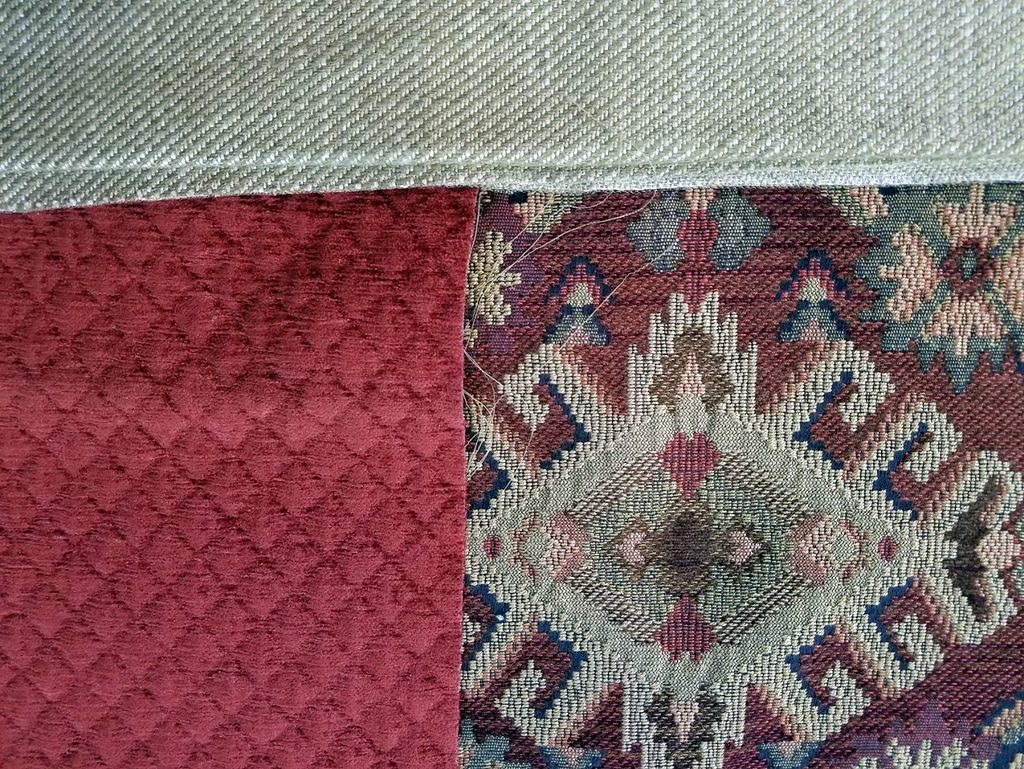 Sewing together luxurious fabrics for Renaissance Tote