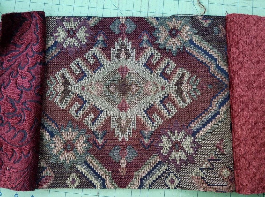 Matching luxurious fabrics for Renaissance Tote
