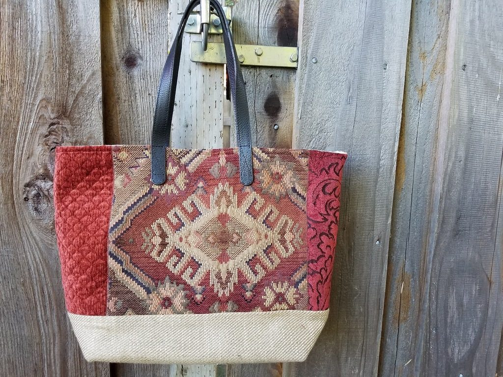 ANY Texture Finished Renaissance Tote, luxurious upholstery fabric handbag