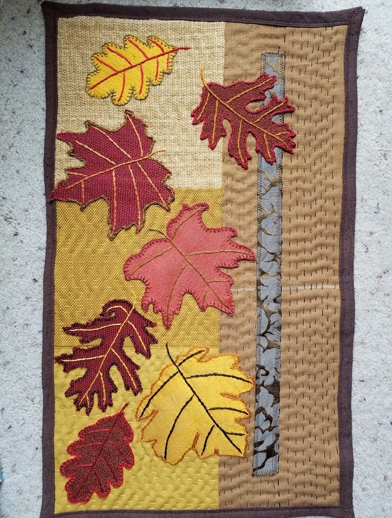 Finished Falling Leaves art quilt