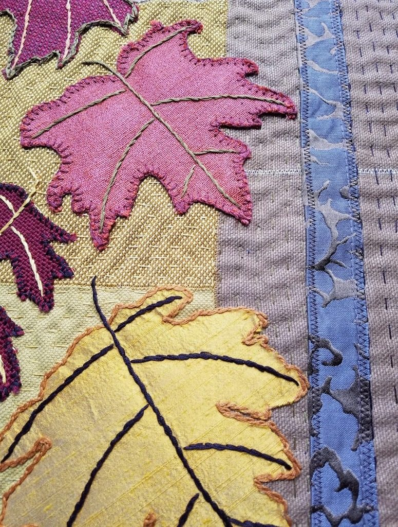 Falling Leaves art quilt details