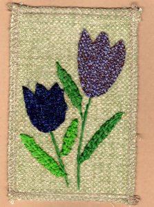 ANYTexture purple tulips card, fabric greeting card