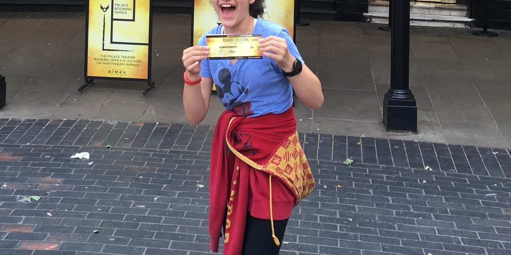 Thrilled after getting Harry Potter Play tickets!