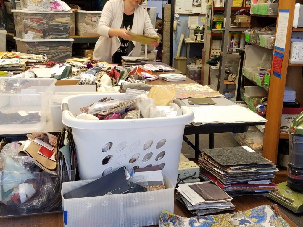 Sorting rescued fabric samples at FabMo