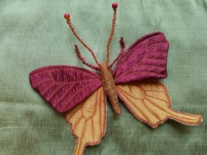 Finished textile butterfly