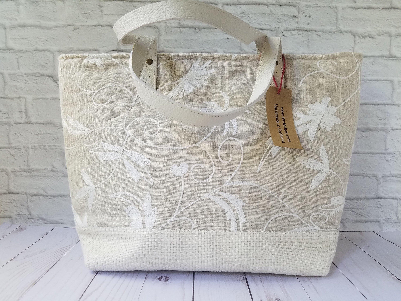 074dee37245 Overnight Embroidered Ivory Tote Handbag