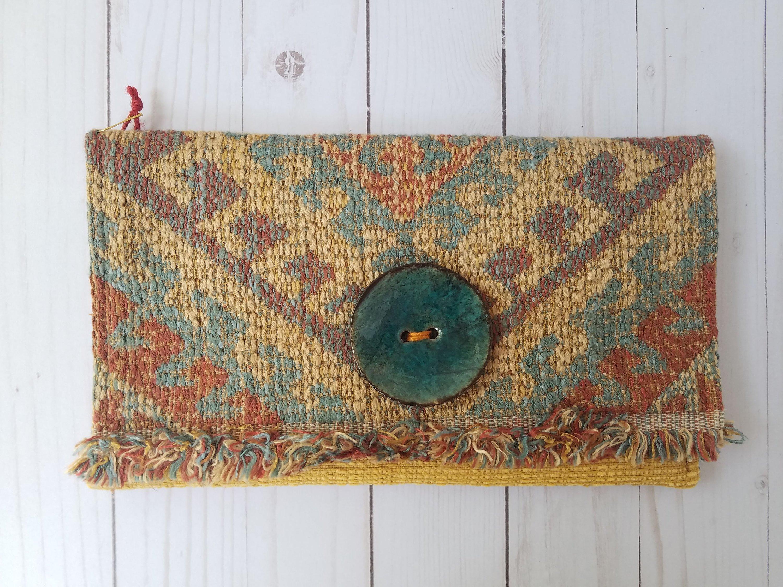 e6d60c8824f Women's Southwestern Fabric Clutch Bag - ANY Texture - Textile Art
