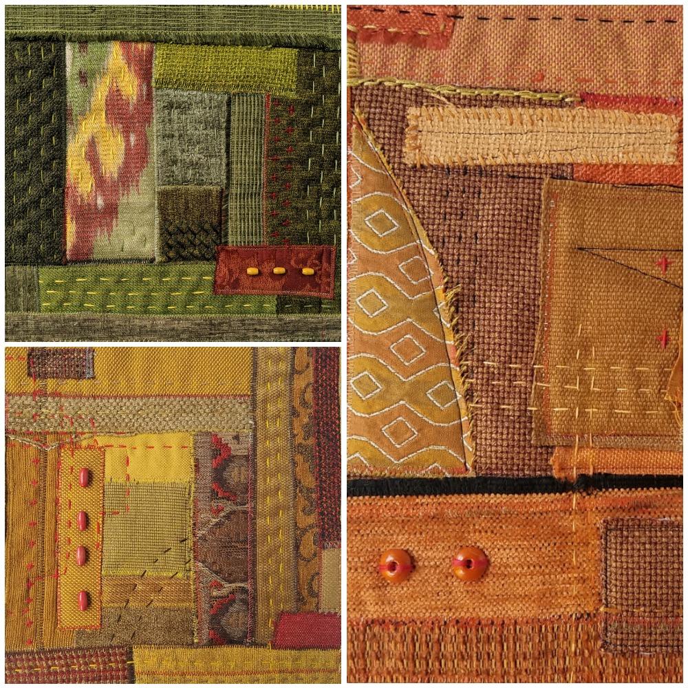 Textile art Autumn mini quilts