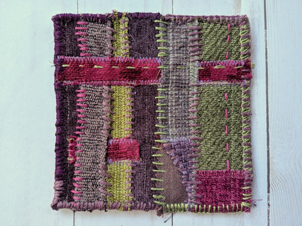 Creative Challenge: Textile sketch in purple and green