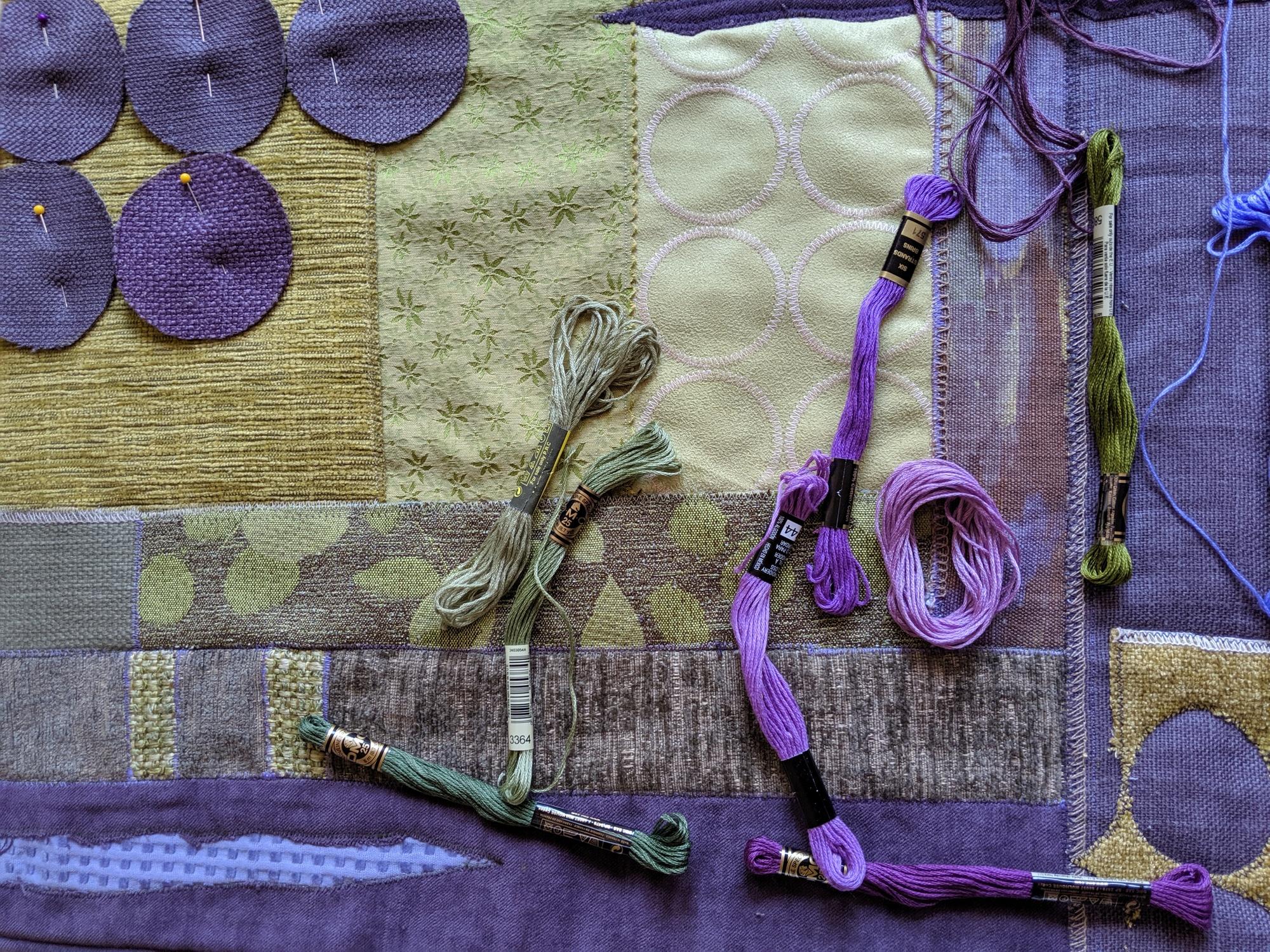 Art quilt in progress - choosing thread