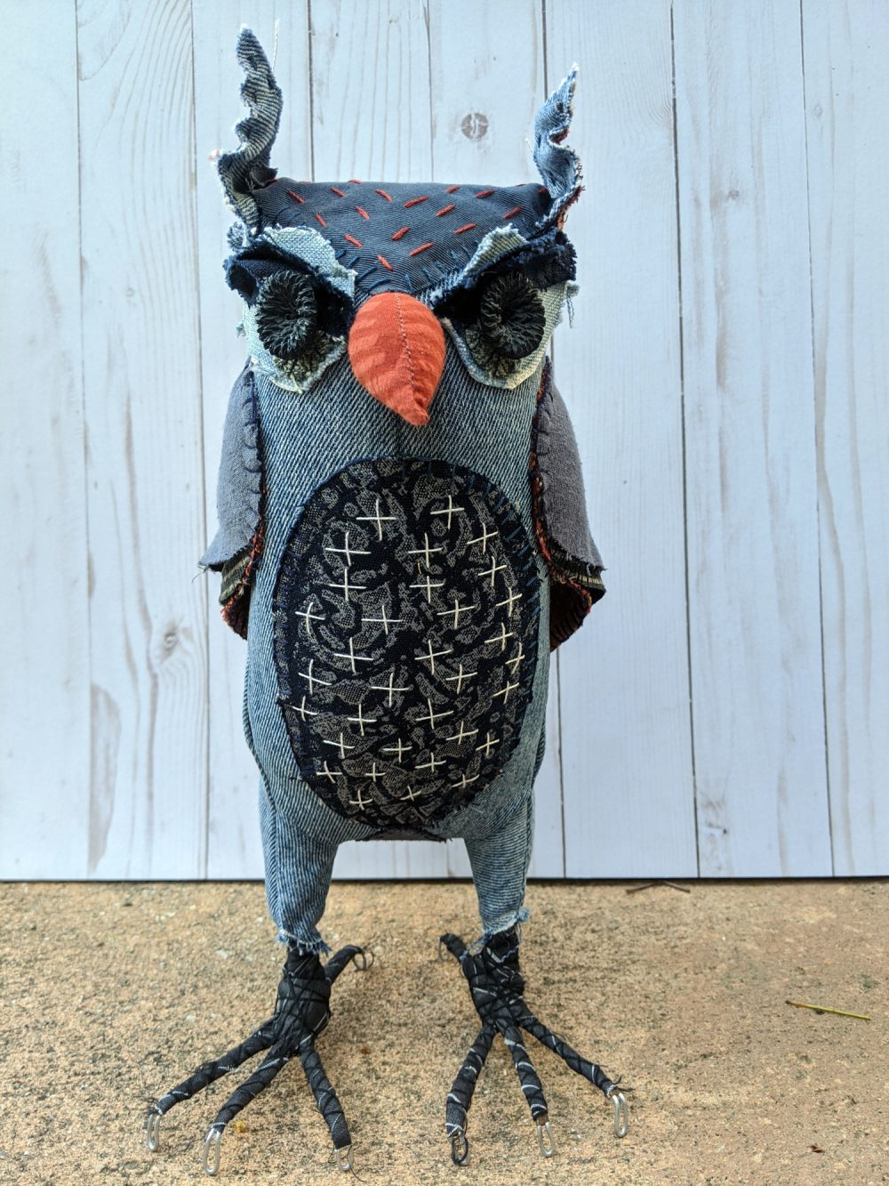 Denim textile owl, front view